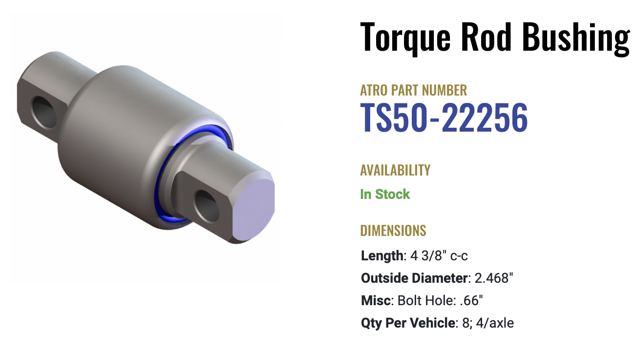 Atro Polyurethane Hendrickson Torque Rod Bushing TH50-22692