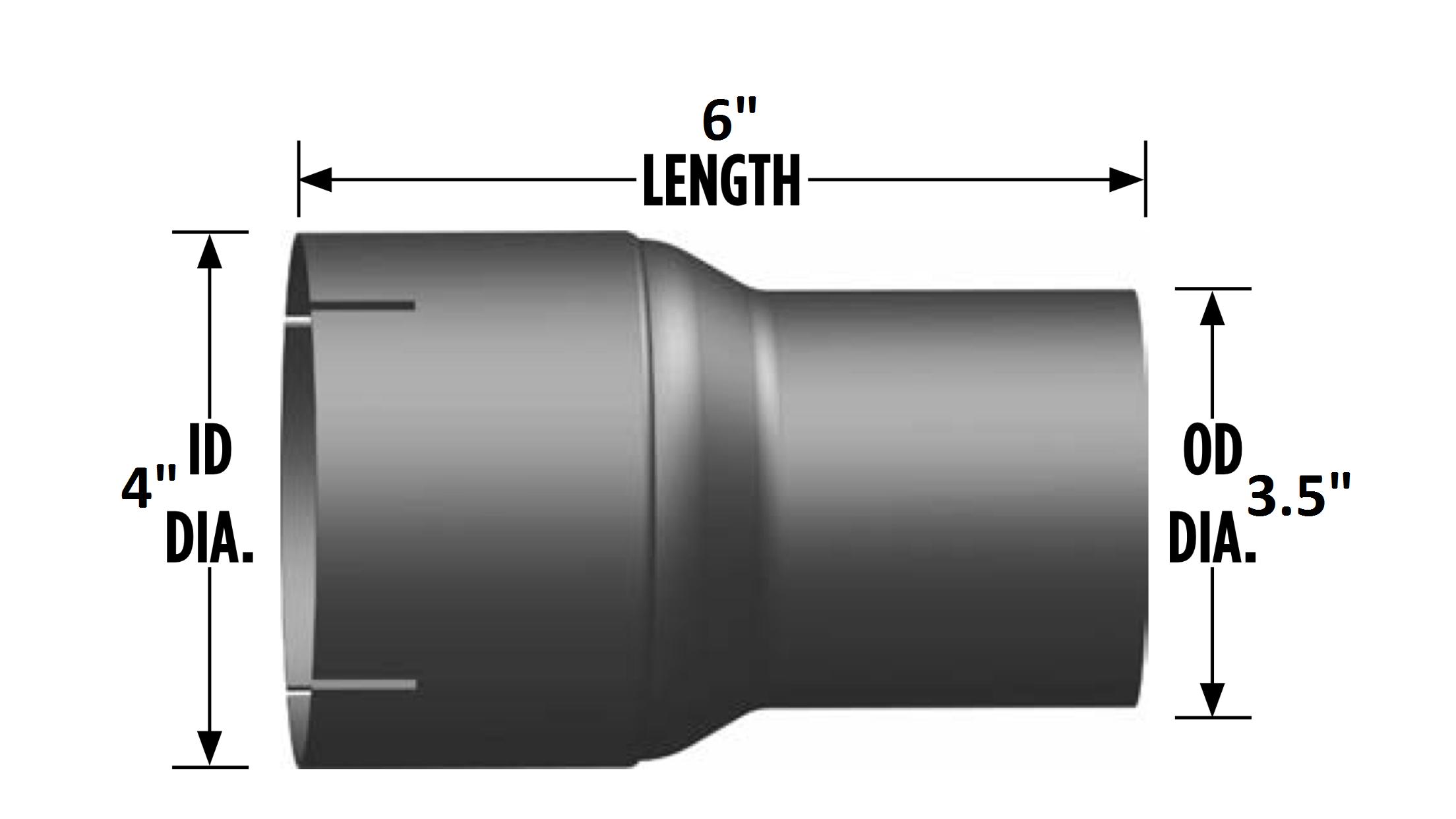 "Expander Exhaust Pipe Coupler 6/"" Length 3.5/""-4/"" O.D.//I.D"