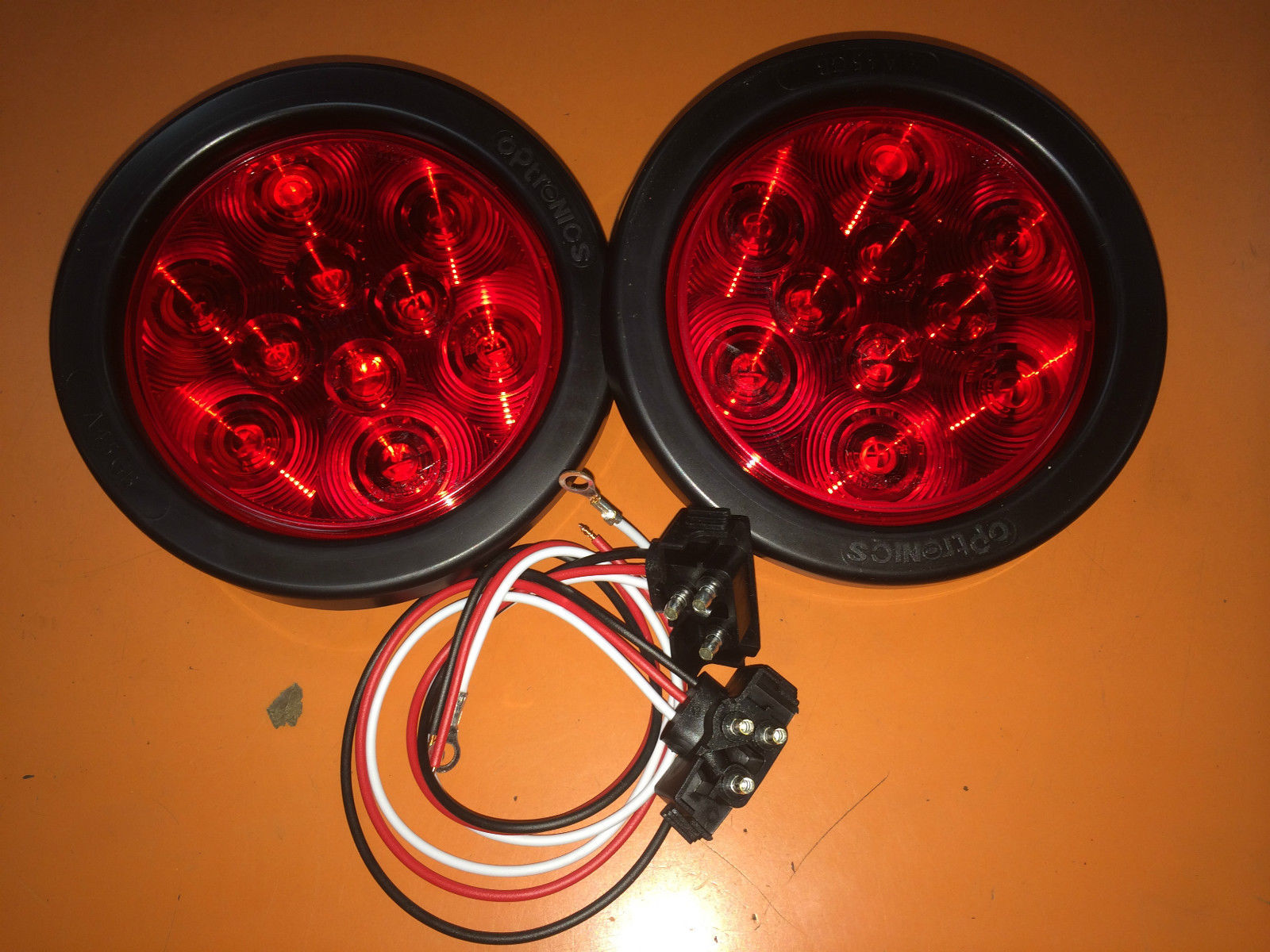 100 Red 10 Led 4 U2033 Round Truck Trailer Brake Stop Turn Tail Lights With Brackets