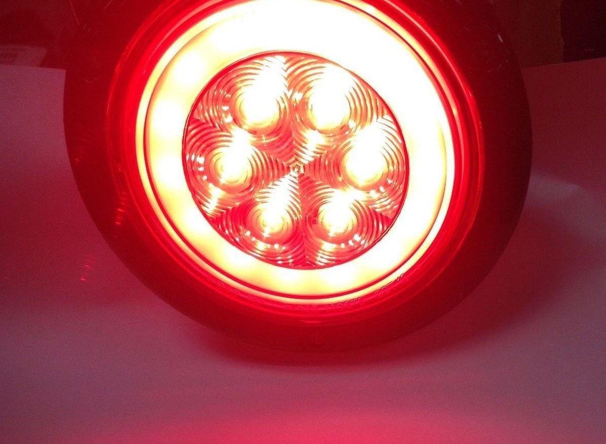 2 Red Led 4 U2033 Round Truck Trailer Brake Stop Turn Tail